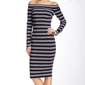 Bec & Bridge Long Sleeve Off Shoulder Midi Dress